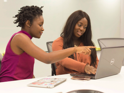 Two female entrepreneurs in training. Credited to UKBlackTech